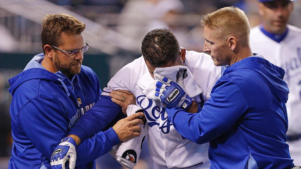 Royals second baseman Omar Infante hit in face with pitch, tested for possible broken jaw | MLB.com