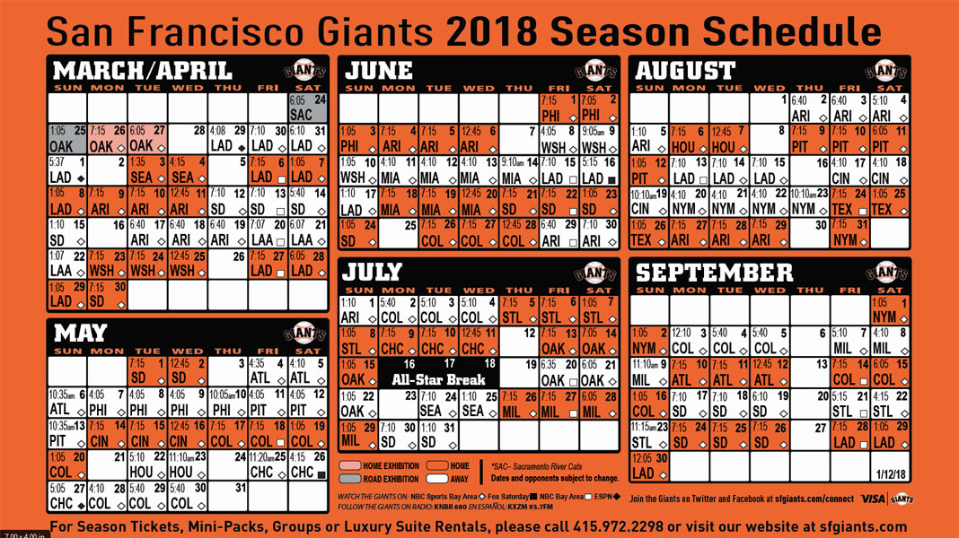 Giants Calendar 2019 Giants Printable Schedule | San Francisco Giants