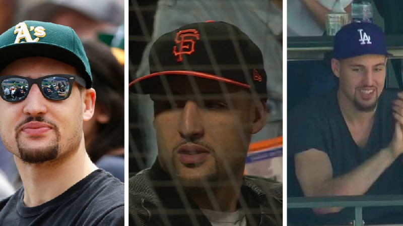 Klay Thompson has now been spotted at baseball games in California wearing Giants, A's and Dodgers caps