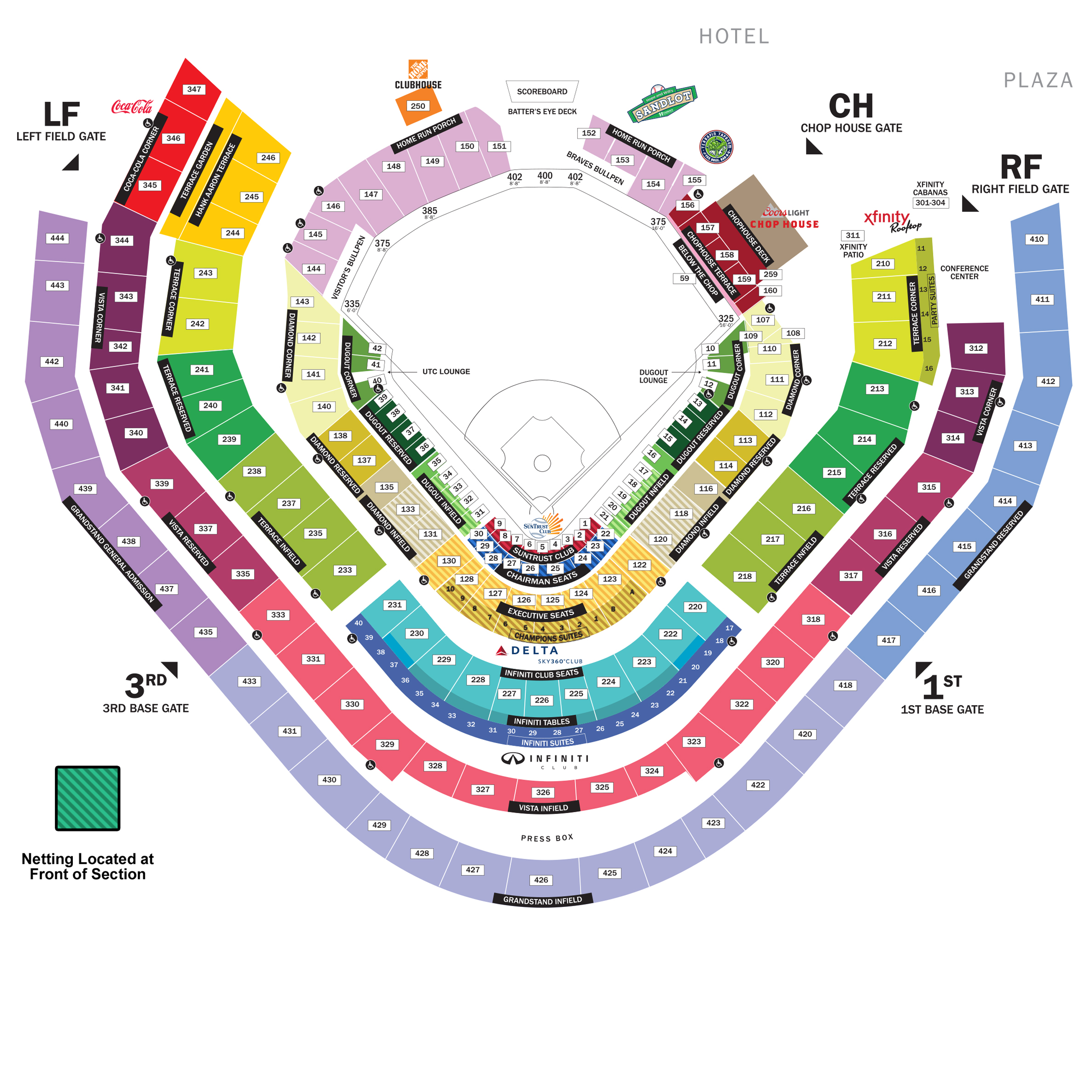 picture regarding Atlanta Braves Tv Schedule Printable called SunTrust Park Seating Chart Atlanta Braves