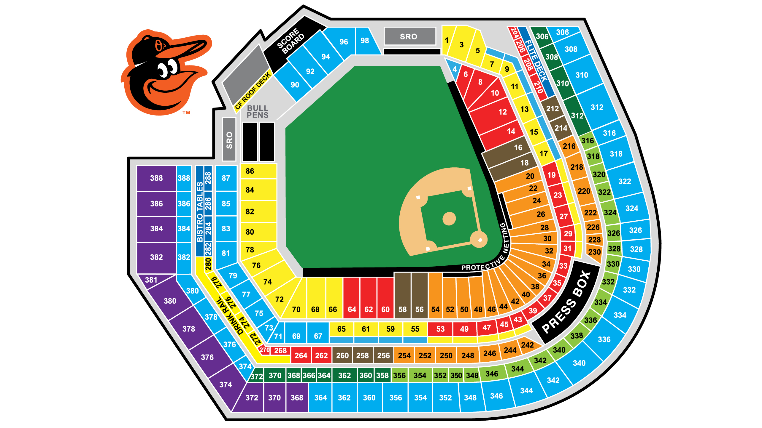 Oriole Park At Camden Yards Seating Map Netting