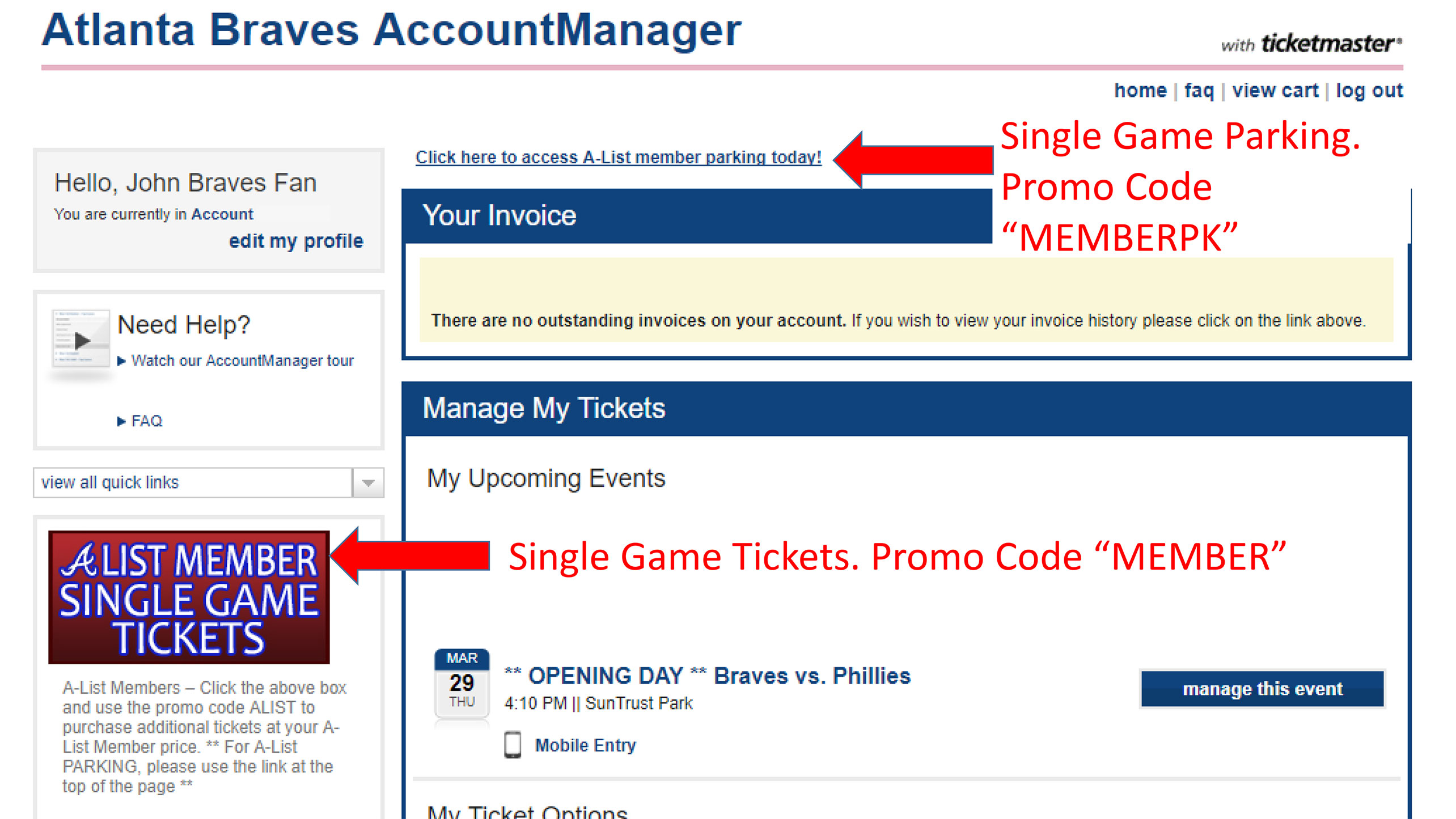 Single Game Tickets | A-List Member | Atlanta Braves