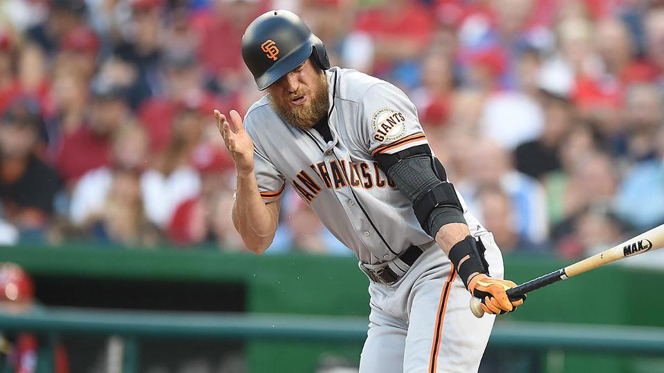 Giants Hunter Pence Fouls Ball Off Face