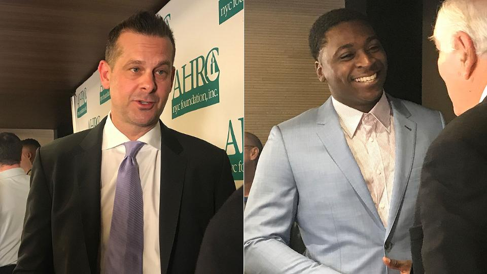 NEW YORK -- Before heading to Tampa for Spring Training, Yankees manager Aaron Boone, shortstop Didi Gregorius and third baseman Miguel Andujar were honored at the 39th annual Thurman Munson Awards Dinner on Tuesday night. New York Giants center Zak DeOssie and former Mets first baseman Ed Kranepool were also honored at the event.