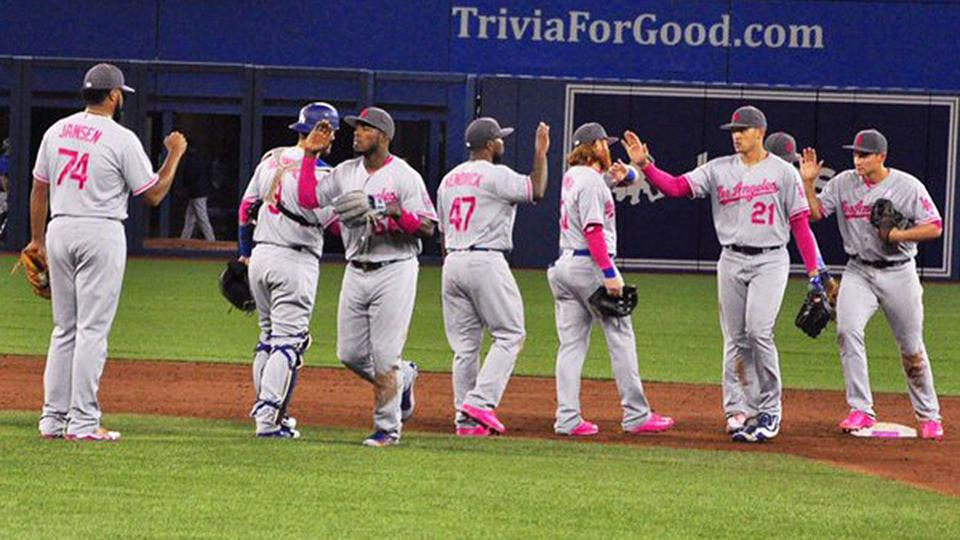 Dodgers use pink gear on Mother s Day  e4737e642e8
