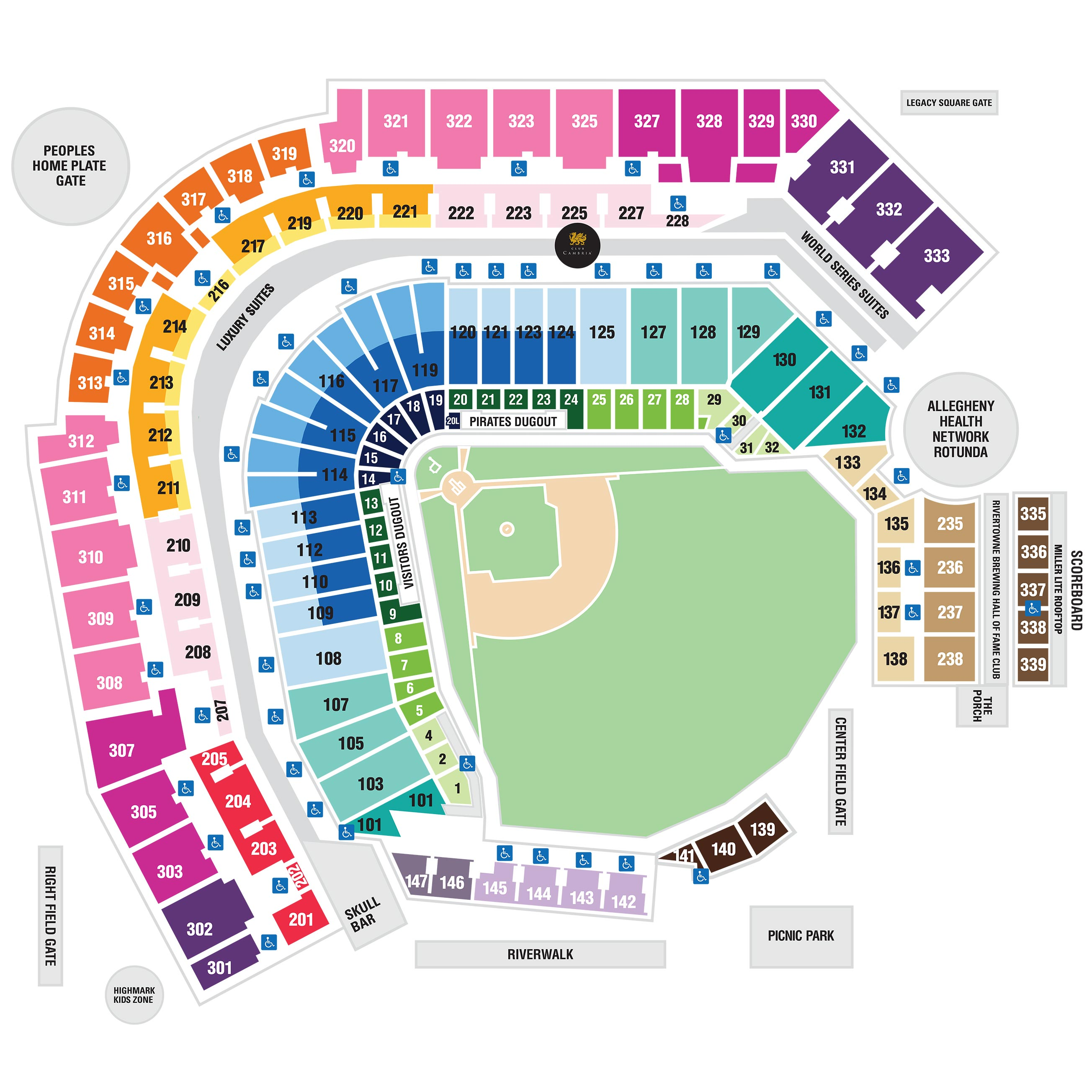 Pnc Park Seating Map Access Guide for Guests with Disabilities | Pittsburgh Pirates