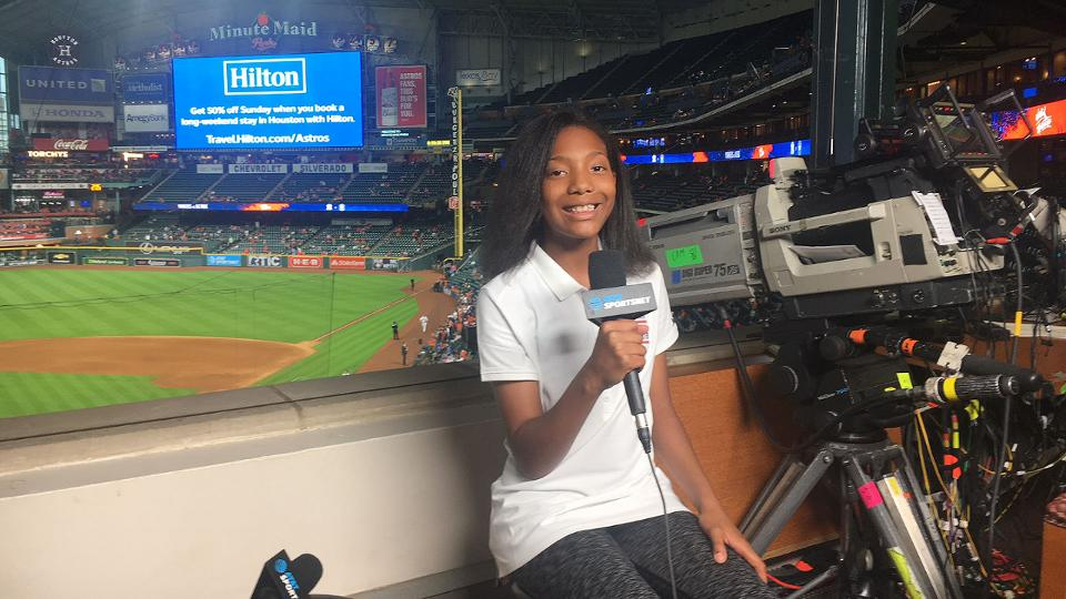 Kid reporter interviews at minute maid park houston astros fandeluxe Images