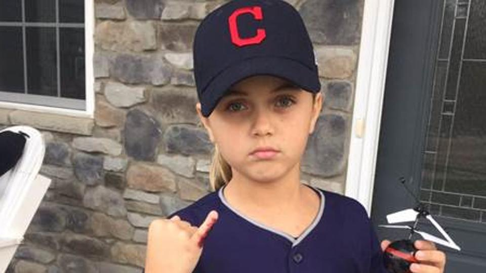 Cleveland Indians fan dressed as blood-fingered, drone