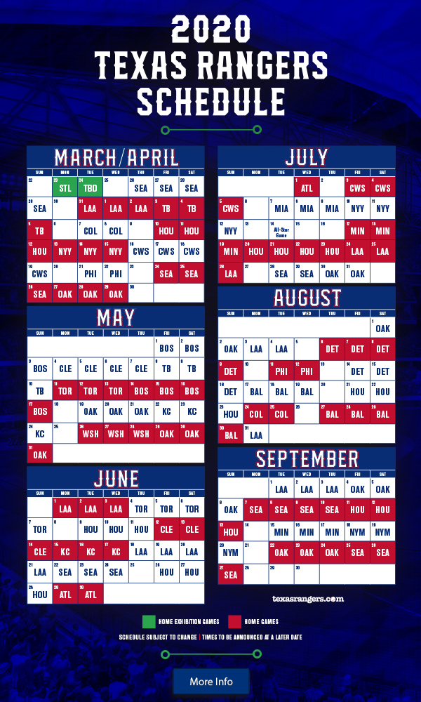 It is a photo of Mesmerizing Texas Rangers Schedule Printable