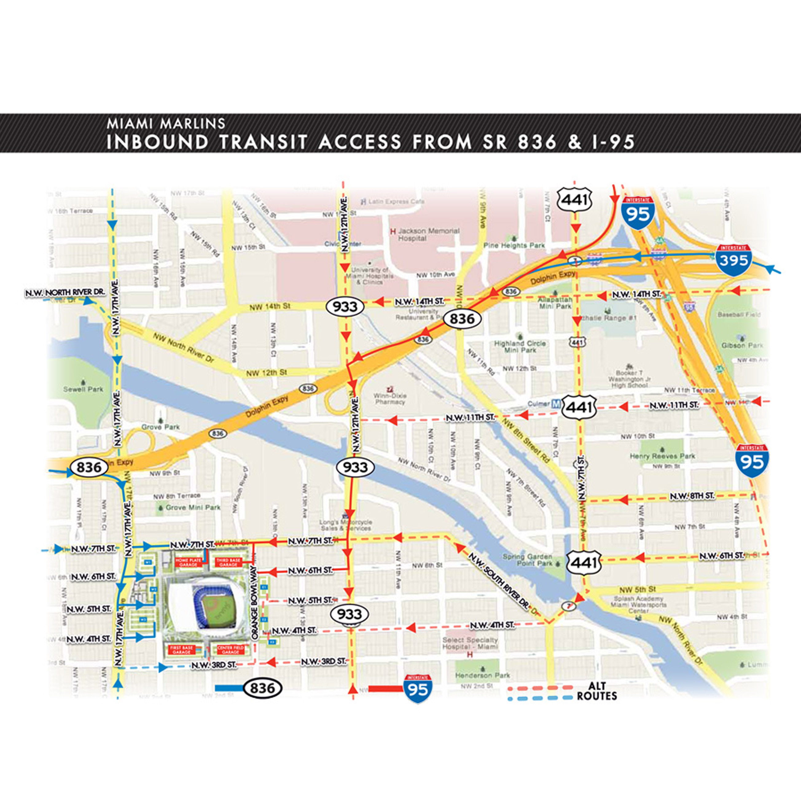 Driving Directions To Marlins Park Miami Marlins