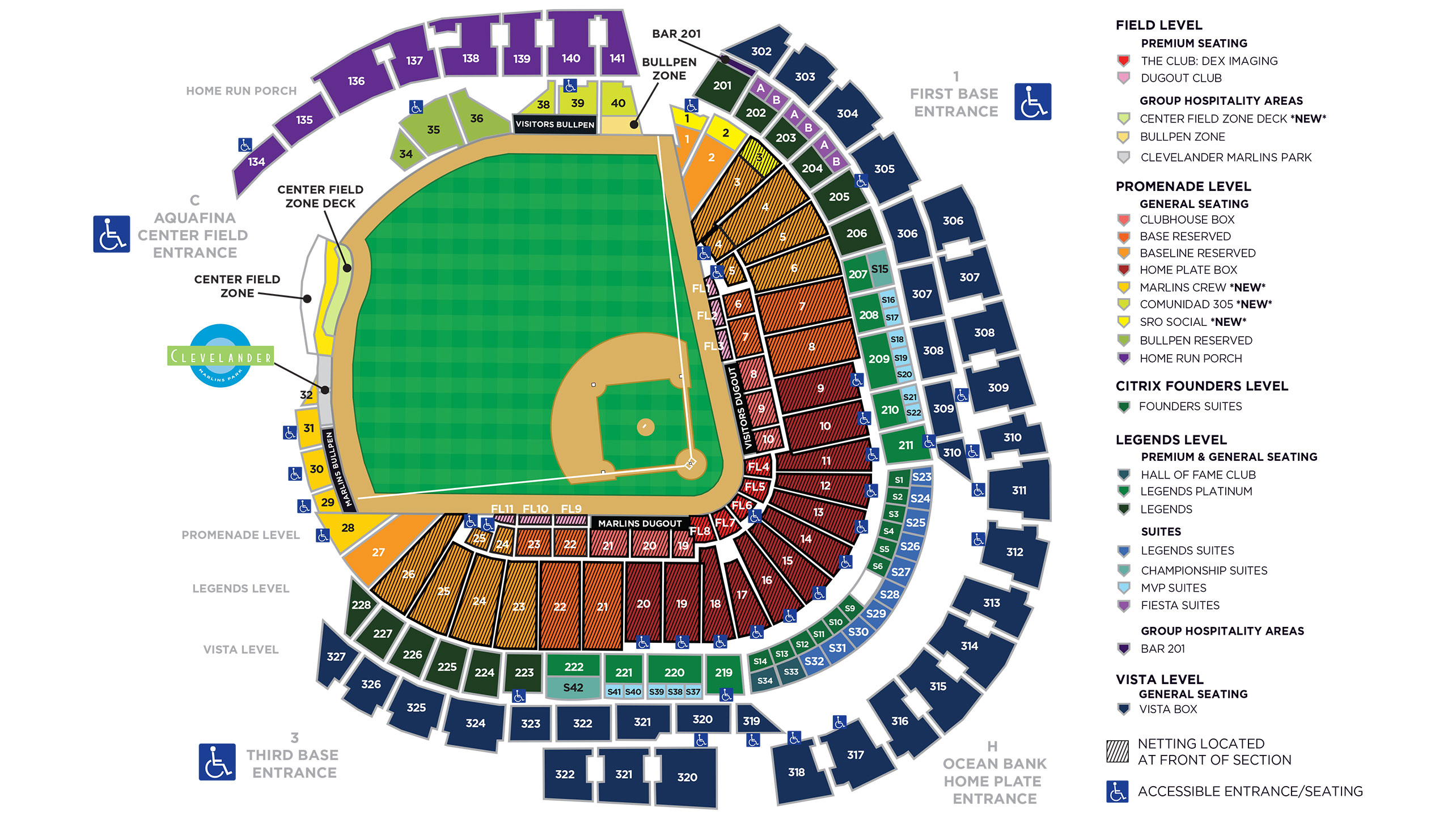 Marlins park seating map miami marlins